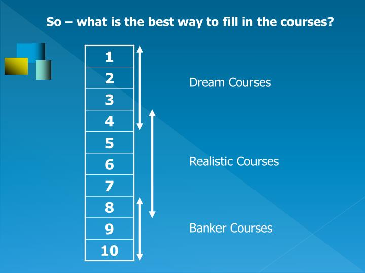 So – what is the best way to fill in the courses?