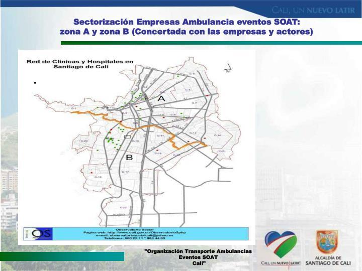 Sectorización Empresas Ambulancia eventos SOAT:
