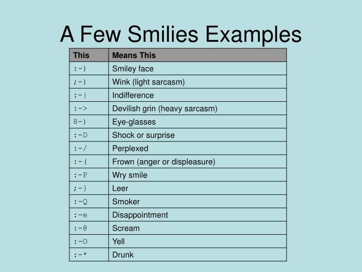 A Few Smilies Examples