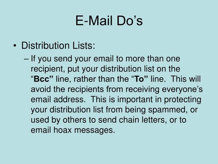 E-Mail Do's