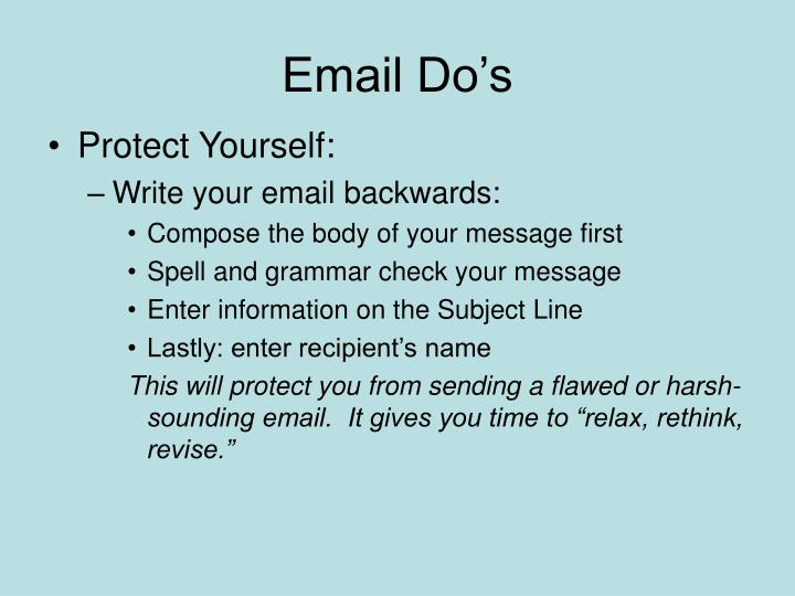 Email Do's