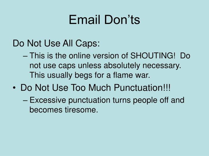Email Don'ts