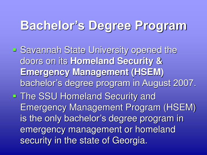Bachelor's Degree Program
