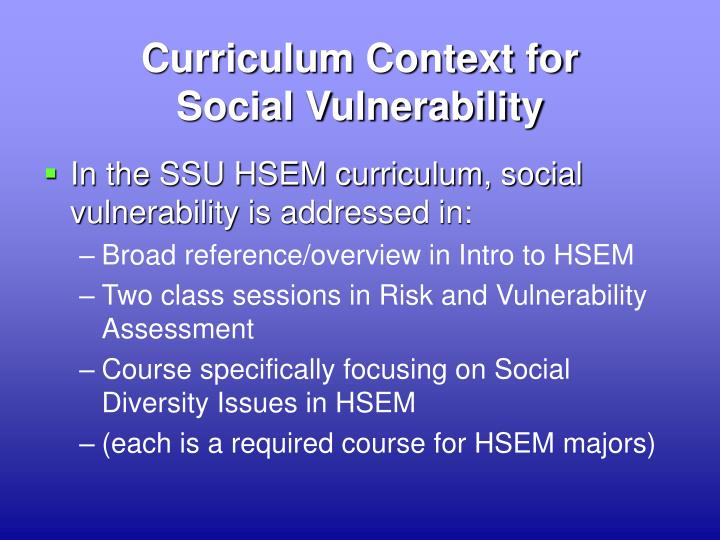Curriculum Context for
