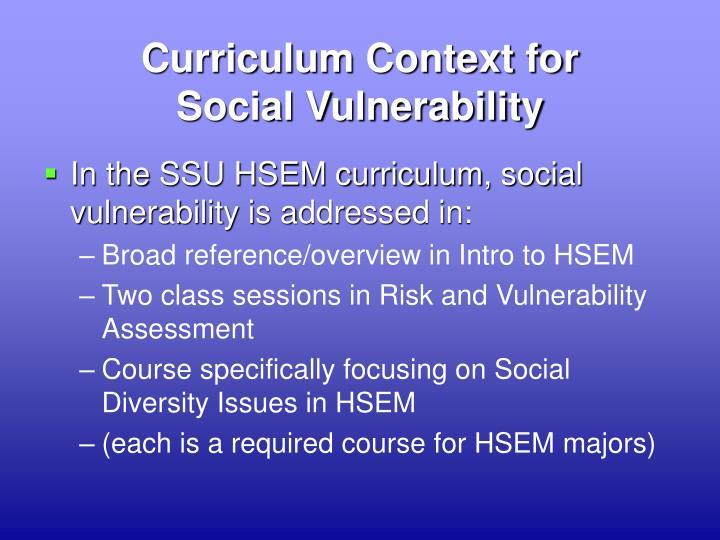 Curriculum Context for