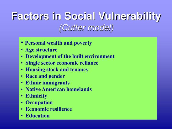 Factors in Social Vulnerability