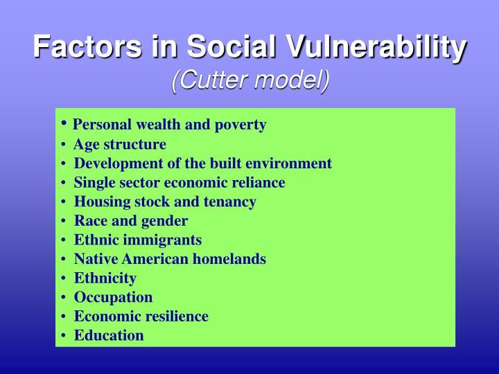 Factors in Social Vulnerability