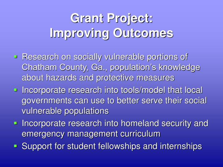 Grant project improving outcomes