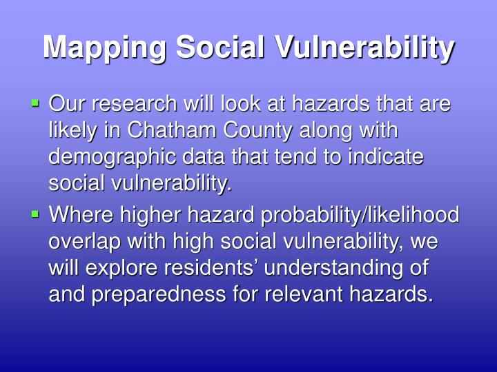 Mapping Social Vulnerability