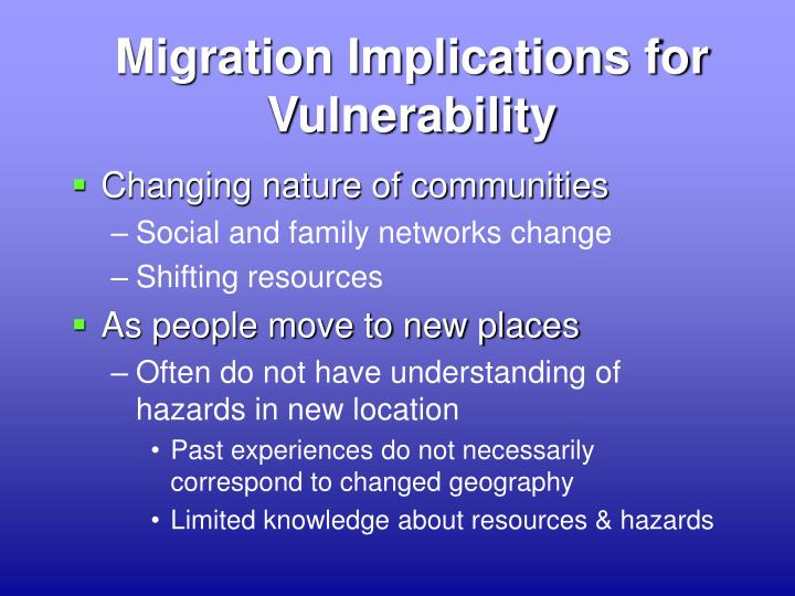Migration Implications for Vulnerability