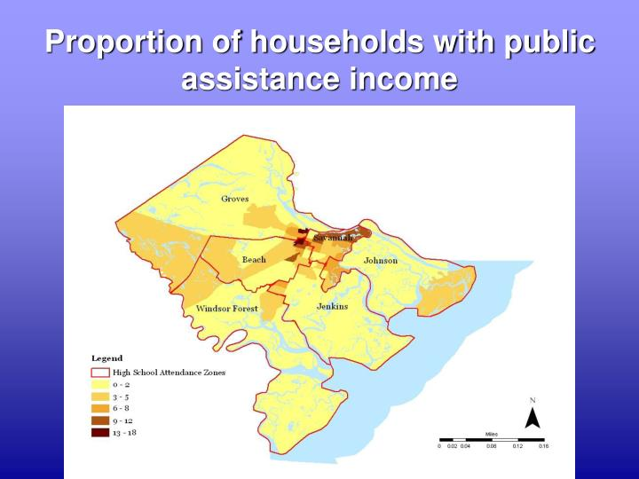 Proportion of households with public assistance income