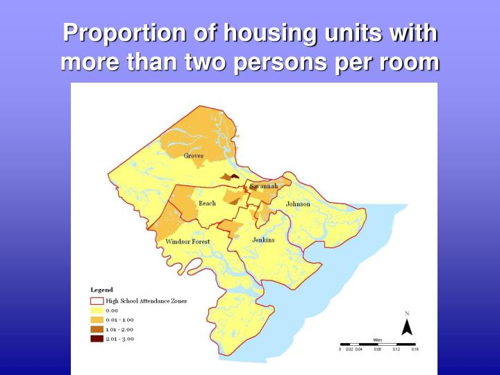 Proportion of housing units with more than two persons per room