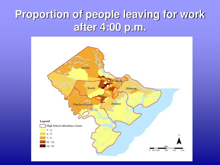 Proportion of people leaving for work after 4:00 p.m.