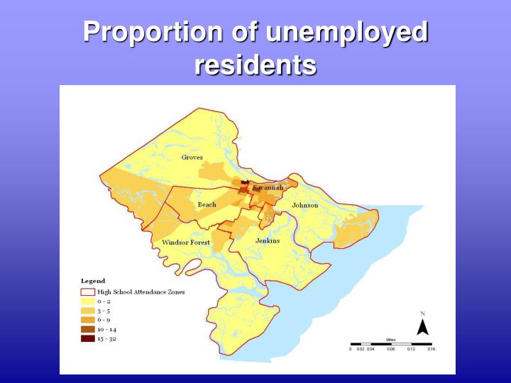 Proportion of unemployed residents
