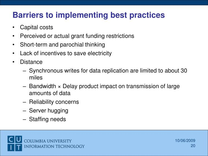 Barriers to implementing best practices