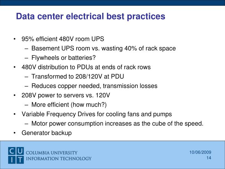 Data center electrical best practices