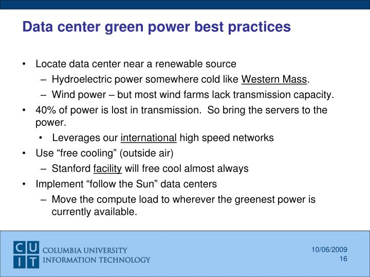 Data center green power best practices