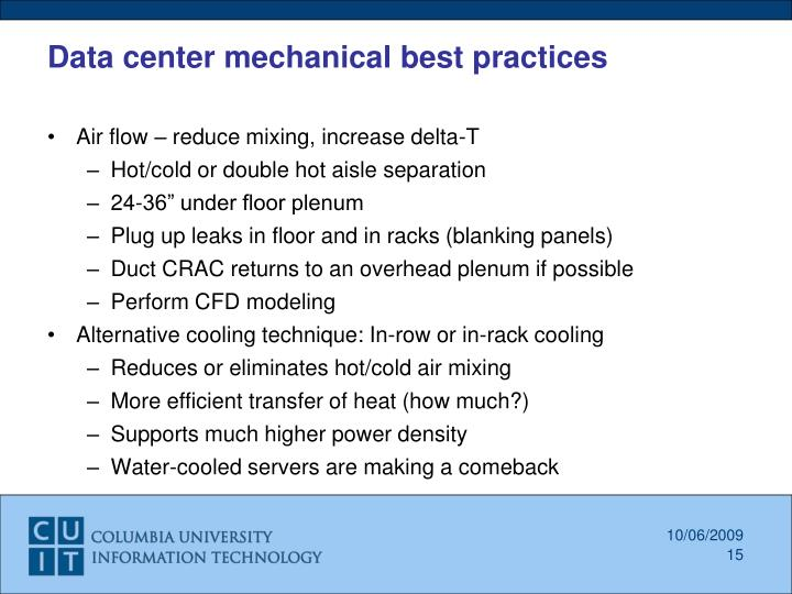 Data center mechanical best practices