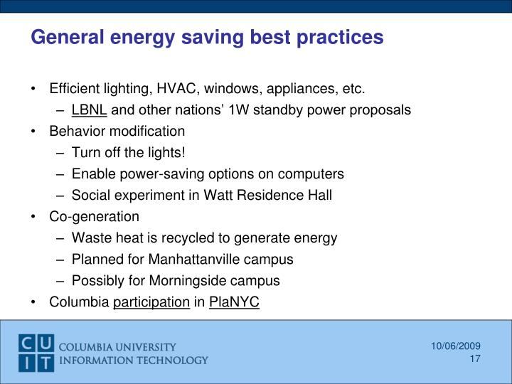 General energy saving best practices