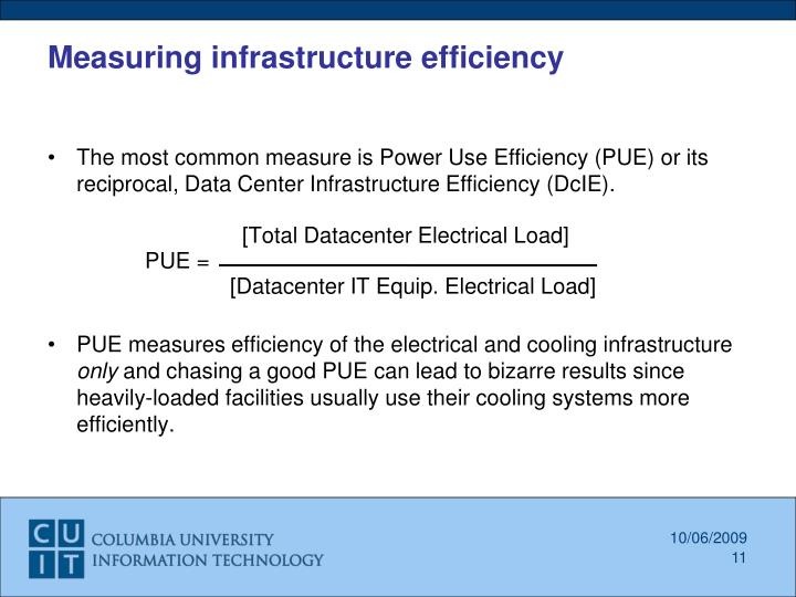 Measuring infrastructure efficiency