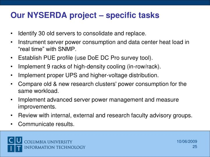 Our NYSERDA project – specific tasks