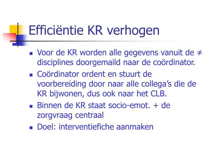 Efficiëntie KR verhogen