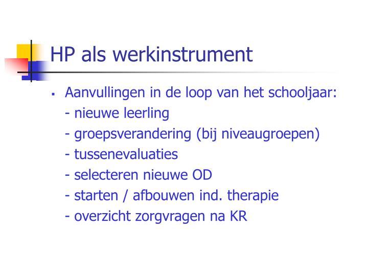 HP als werkinstrument