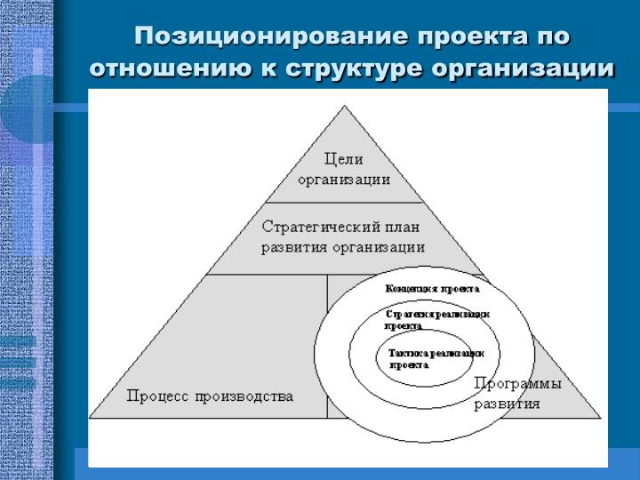 Позиционирование проекта по отношению к структуре организации