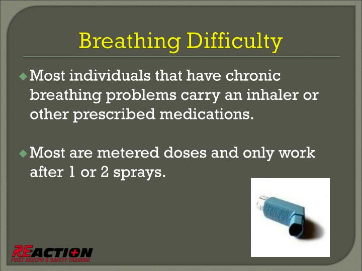 Most individuals that have chronic breathing problems carry an inhaler or other prescribed medications.