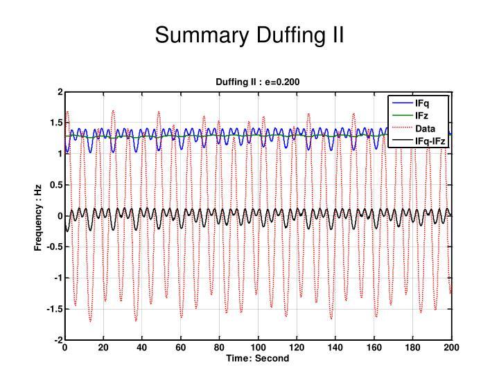 Summary Duffing II
