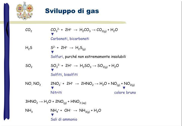 Sviluppo di gas
