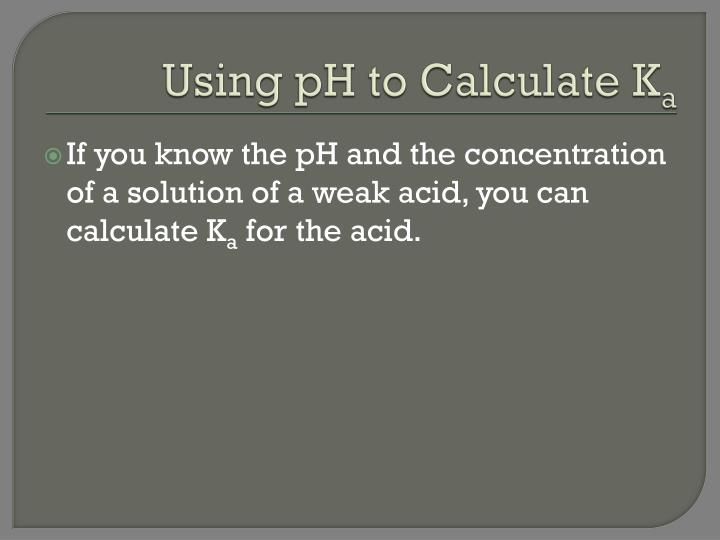 Using pH to Calculate K