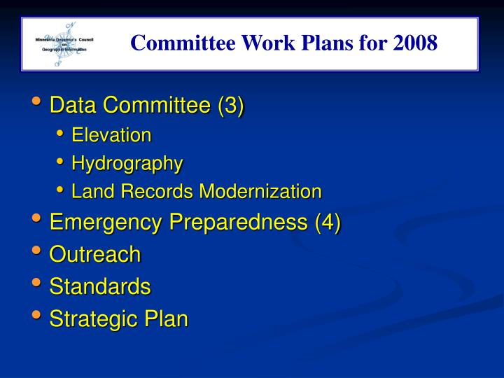 Committee Work Plans for 2008