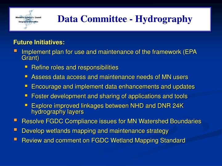 Data Committee - Hydrography