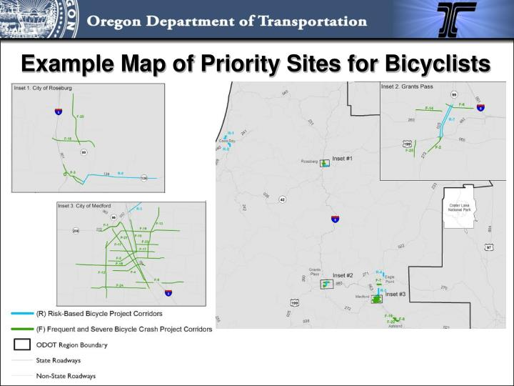 Example Map of Priority Sites for Bicyclists
