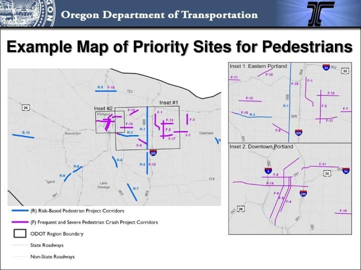 Example Map of Priority Sites for Pedestrians