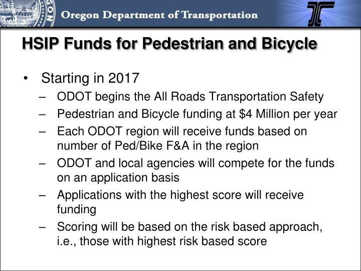 HSIP Funds for Pedestrian and Bicycle