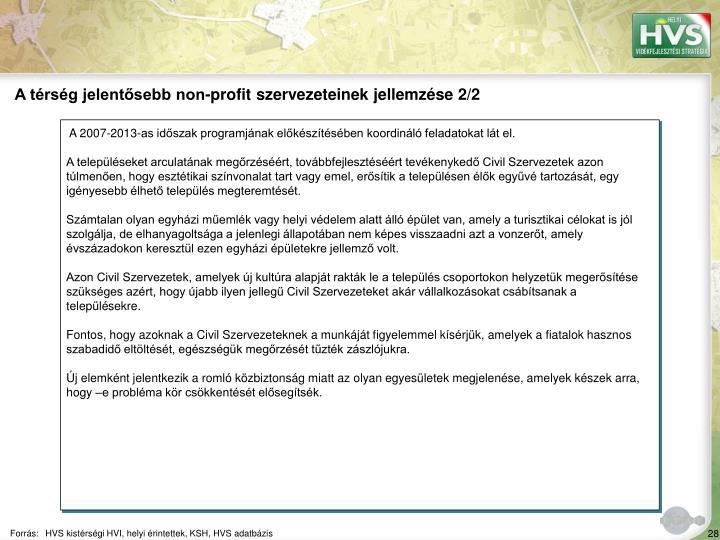 A térség jelentősebb non-profit szervezeteinek jellemzése 2/2