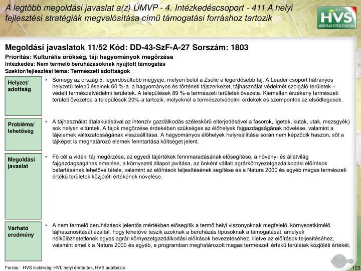 Megoldási javaslatok 11/52 Kód: DD-43-SzF-A-27 Sorszám: 1803