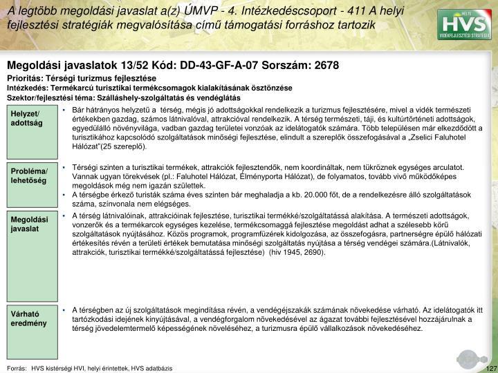 Megoldási javaslatok 13/52 Kód: DD-43-GF-A-07 Sorszám: 2678
