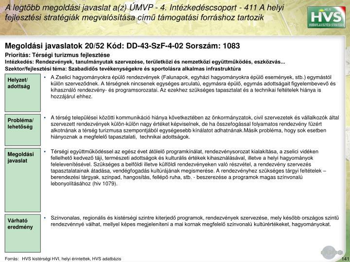 Megoldási javaslatok 20/52 Kód: DD-43-SzF-4-02 Sorszám: 1083