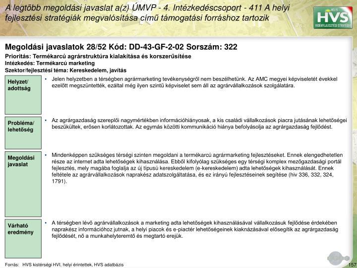 Megoldási javaslatok 28/52 Kód: DD-43-GF-2-02 Sorszám: 322