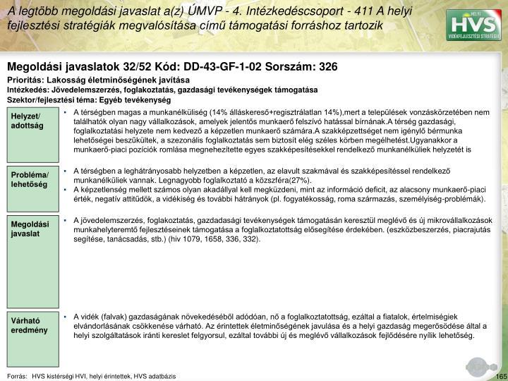 Megoldási javaslatok 32/52 Kód: DD-43-GF-1-02 Sorszám: 326
