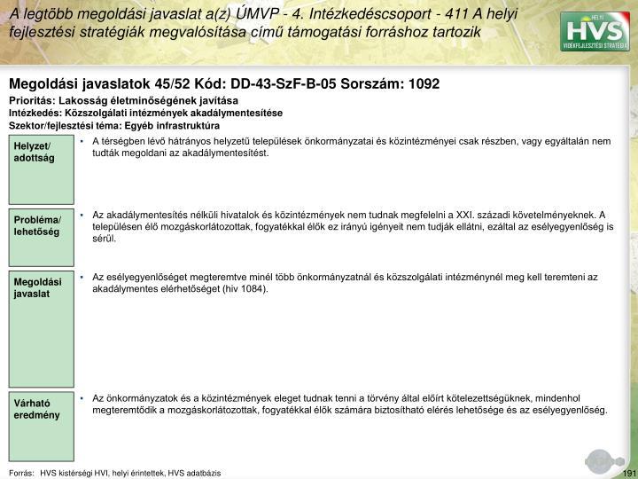 Megoldási javaslatok 45/52 Kód: DD-43-SzF-B-05 Sorszám: 1092