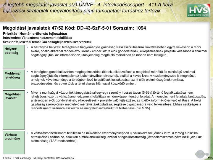 Megoldási javaslatok 47/52 Kód: DD-43-SzF-5-01 Sorszám: 1094