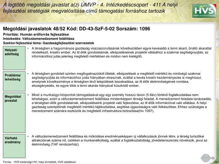 Megoldási javaslatok 48/52 Kód: DD-43-SzF-5-02 Sorszám: 1096