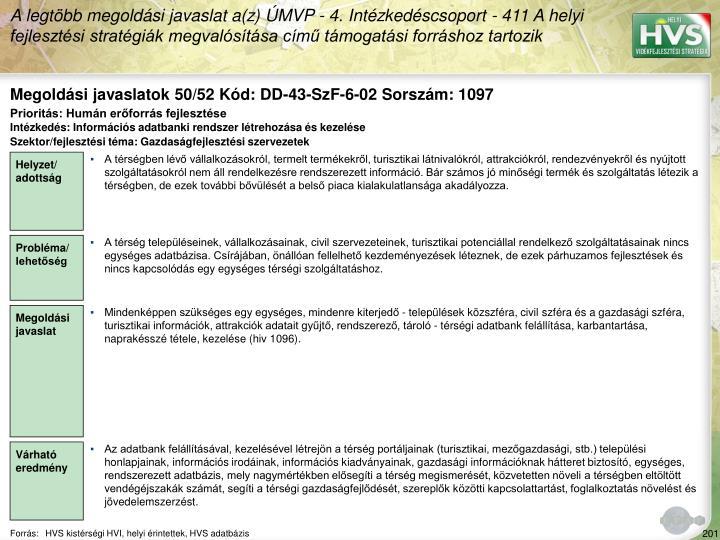 Megoldási javaslatok 50/52 Kód: DD-43-SzF-6-02 Sorszám: 1097