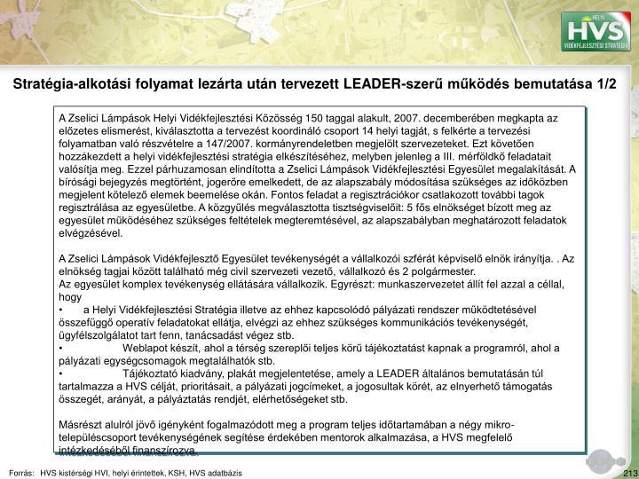 Stratégia-alkotási folyamat lezárta után tervezett LEADER-szerű működés bemutatása 1/2
