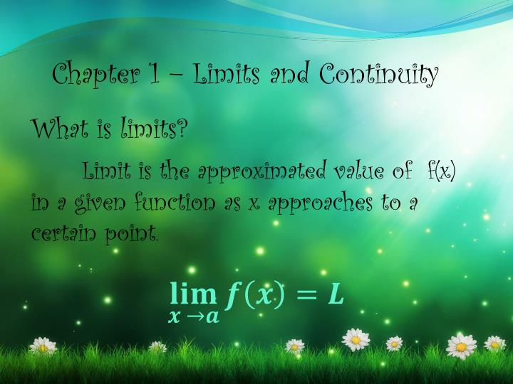 Chapter 1 – Limits and Continuity