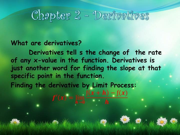 Chapter 2 - Derivatives